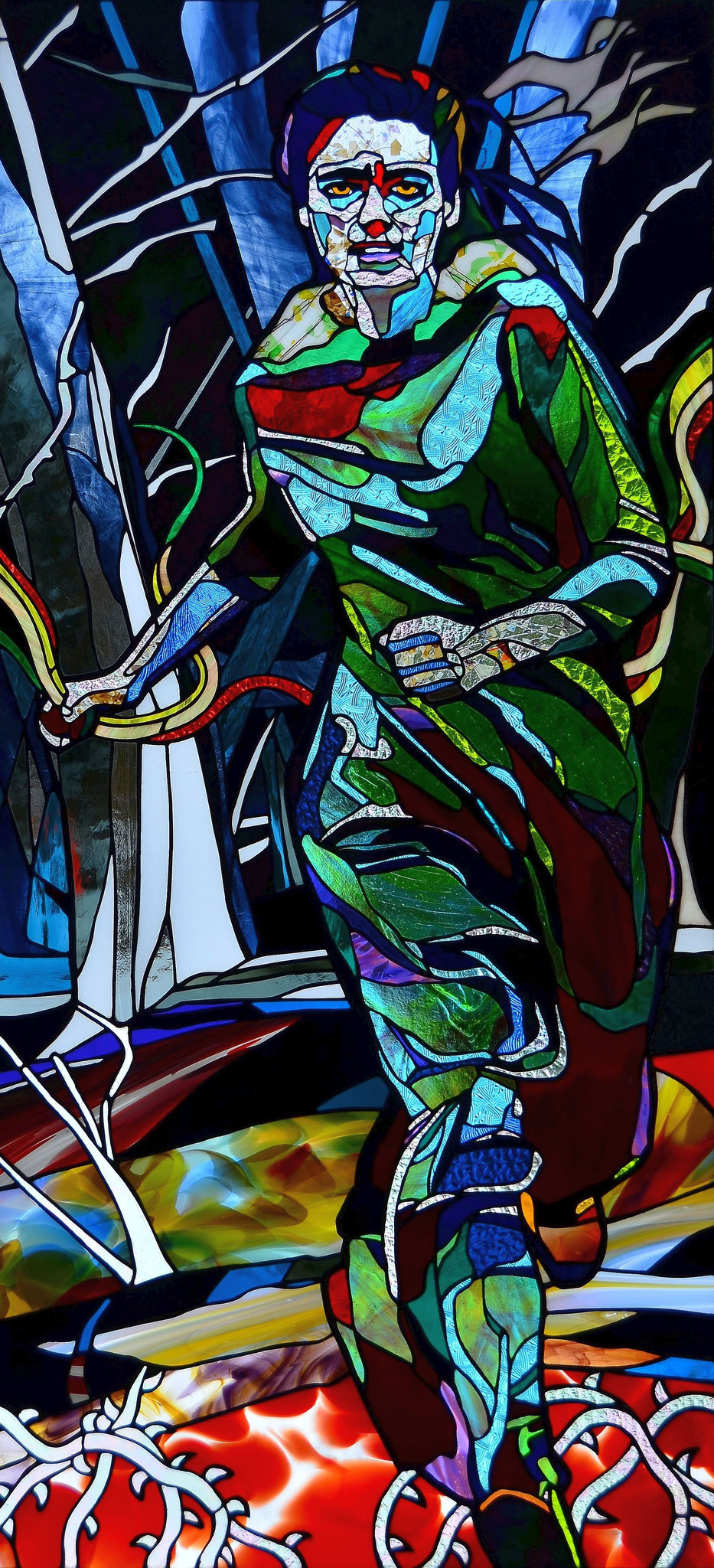 APPROACHING SPRING  26 x 54 inches stained glass, photo by Lloyd Howell