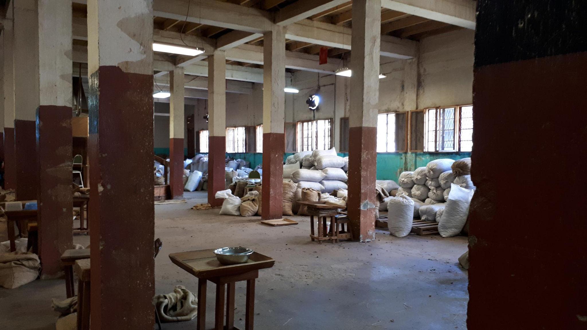 Säcke mit Muskatnüssen für den Export