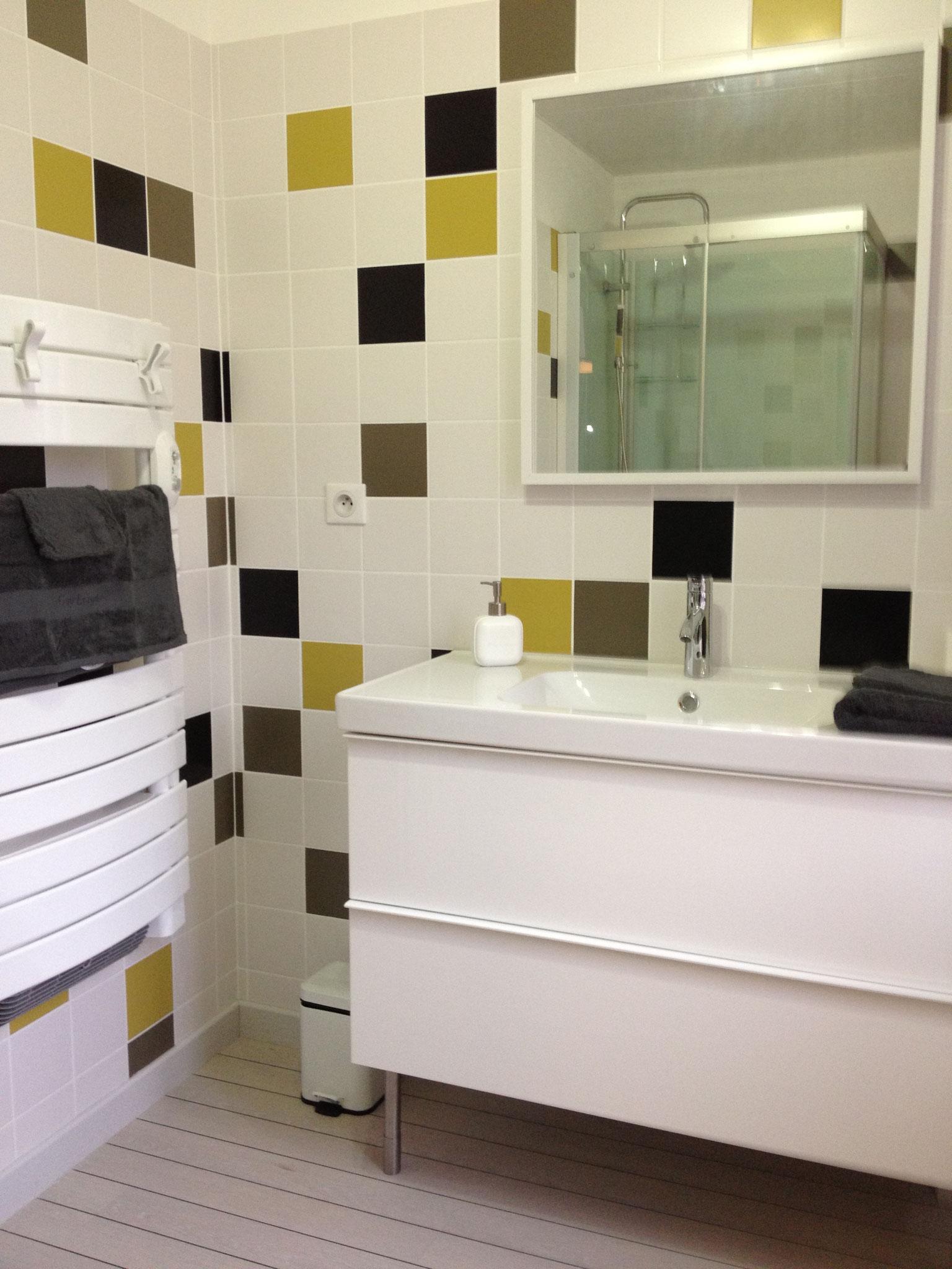 """Gîte """"Les Cépages"""", vue intérieure de la Chambre """"Chardonnay"""" : salle de bain (lavabo, miroir)"""