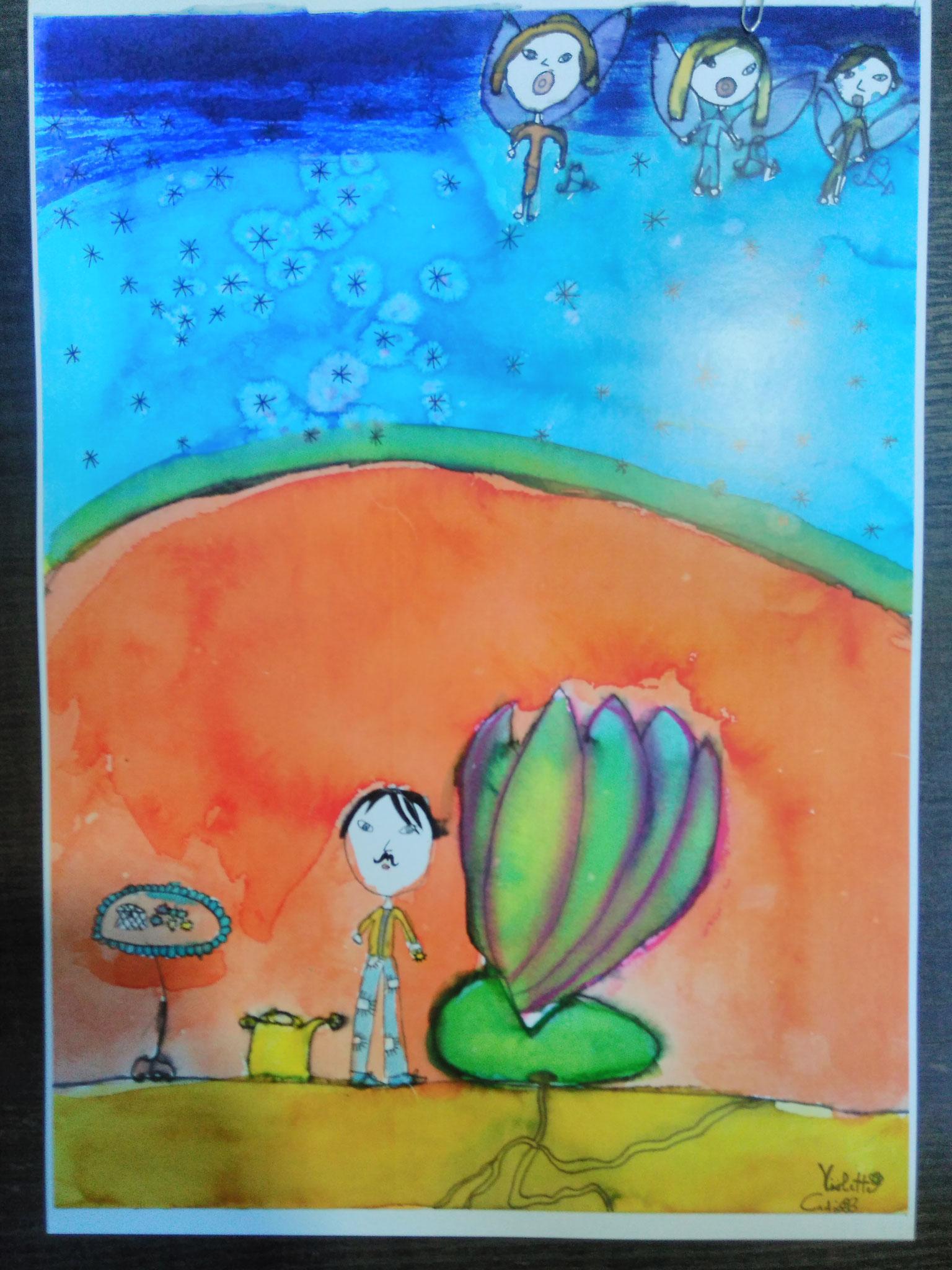 """5e Prix : Violette CADIC (7 ans et demi) - Illustration du poème """"L'école des beaux-arts"""" de Jacques Prévert"""
