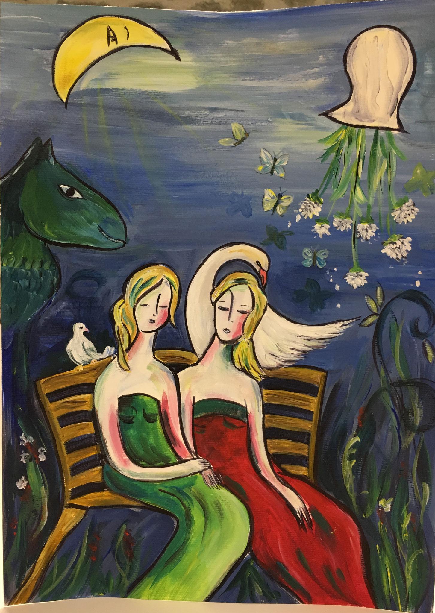 "1er Prix : Manuèle LENOIR - Illustration du poème ""Mes deux filles"" de Victor Hugo"