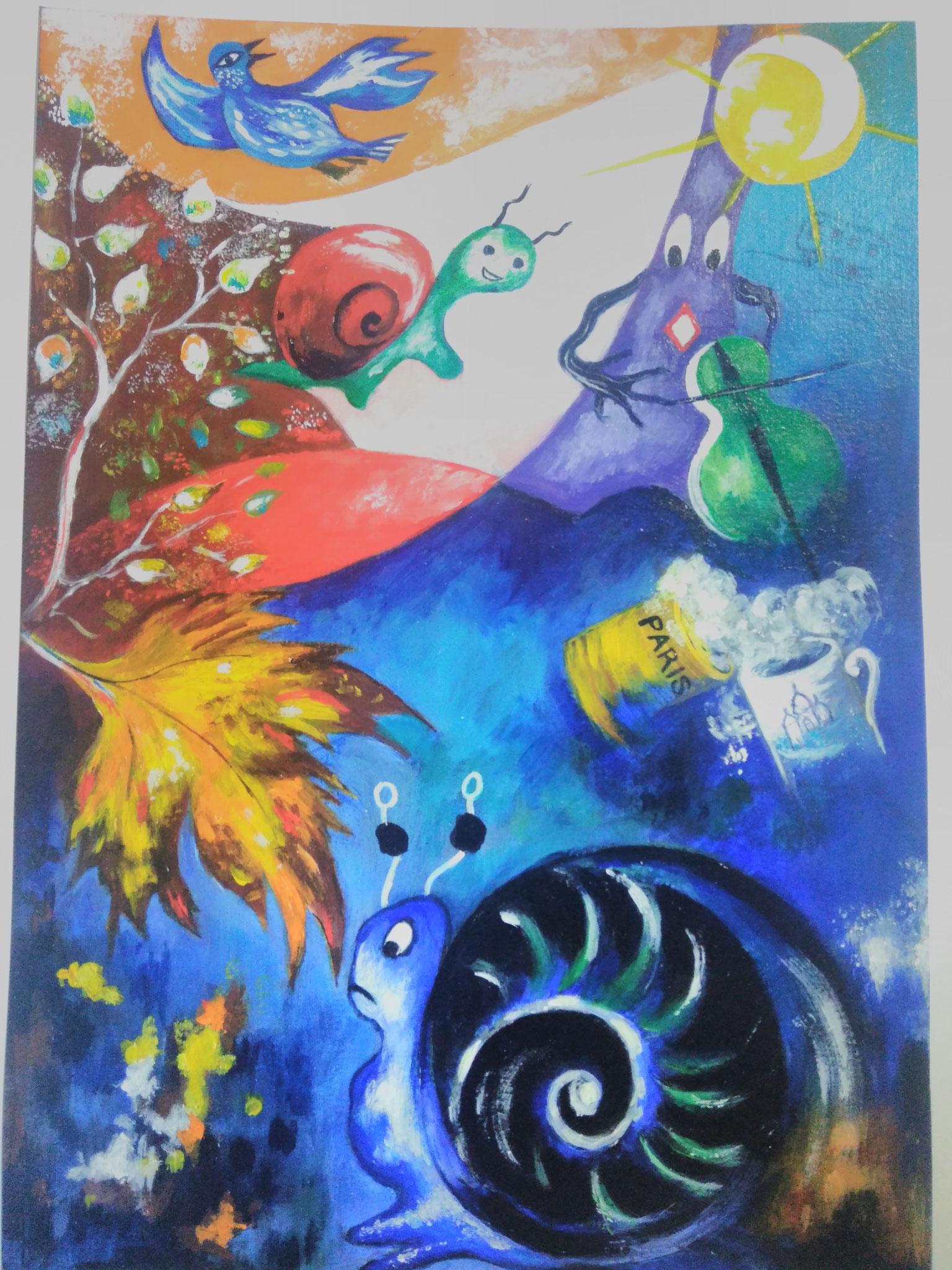 """2e Prix : Annick MASSON - Illustration du poème """"Deux escargots s'en vont à l'enterrement d'une feuille morte"""" de Jacques Prévert"""