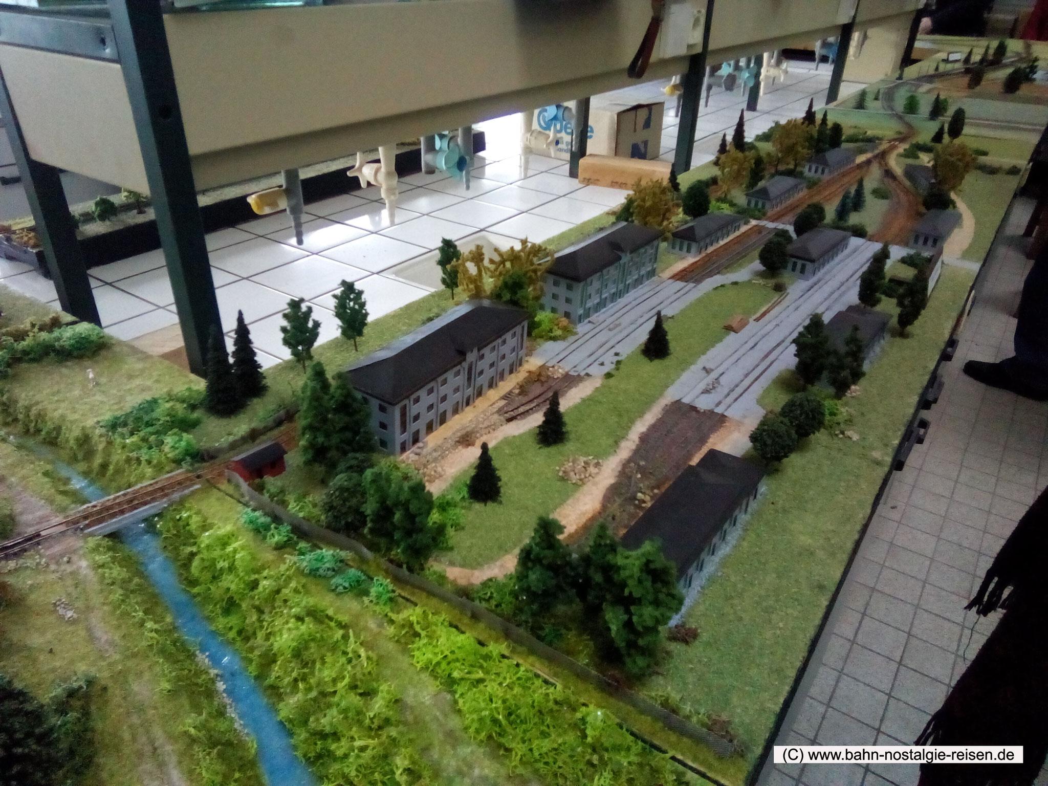 Das Kaligelände mit Gleisen gezeigt im Modell