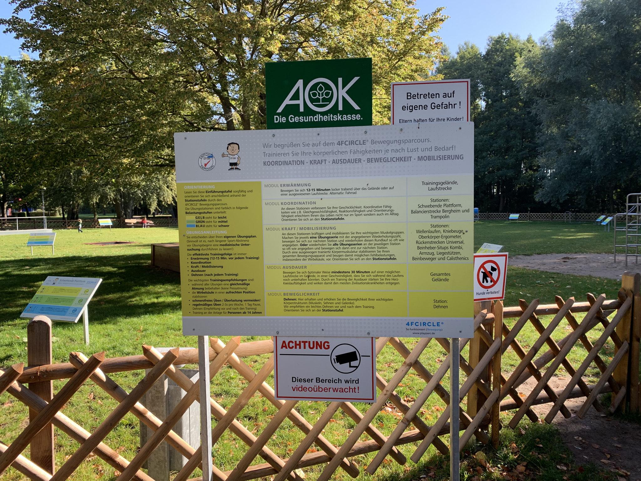 kostenloser Outdoor-Sportpark direkt am Radrundweg Höhe Reha-Klinik