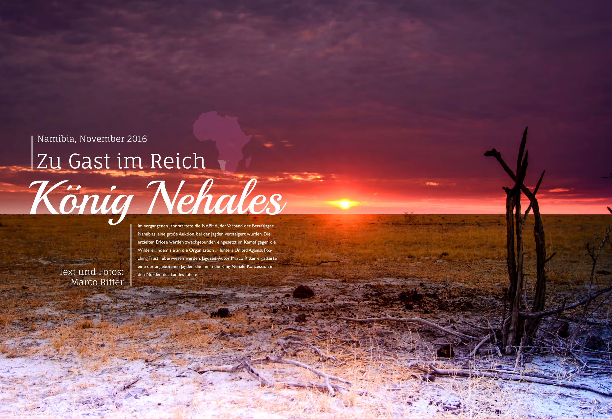 """Bebilderung des Artikels """"Zu Gast im Reich König Nehales"""" in Jagdzeit International Nr. 30 (01/2017)"""