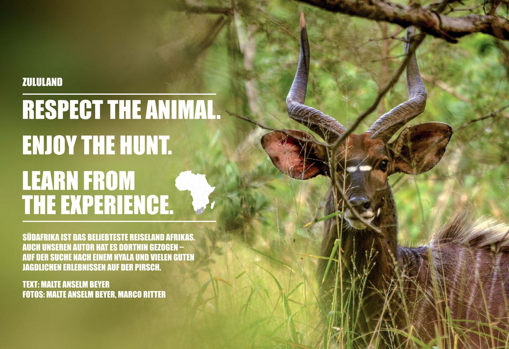 "teilweise Bebilderung inkl. Leitbild des Artikels ""Respect The Animal. Enjoy The Hunt. Learn From The Experience"" in Jagdzeit International Nr. 28 (03/2016)"