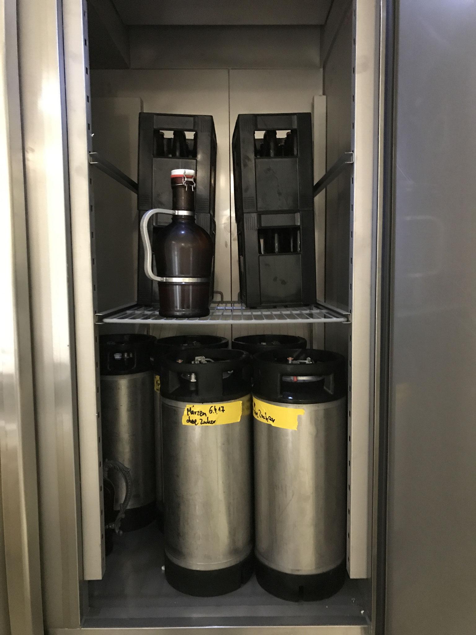Nach 7 bis 10 Tagen im Gärtank wird das Jungbier in die verschiedenen Behältnisse abgefüllt und im Kühlschrank für mehrere Wochen gelagert.