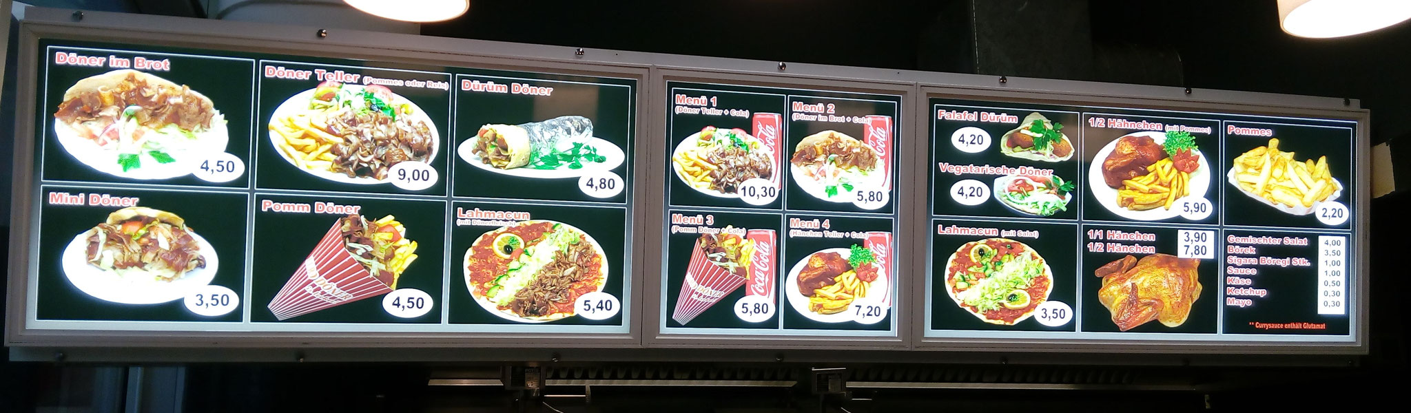 Leuchtkasten / Menü-Board