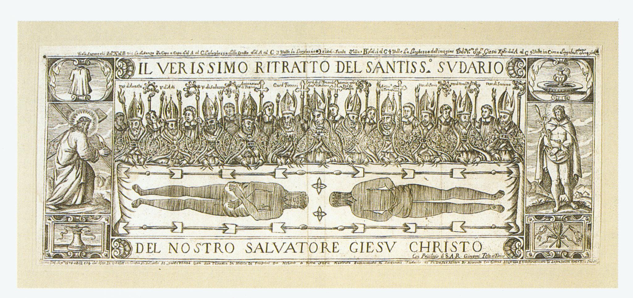 Incisione del Testa, ostensione del 12 ottobre 1578 con san Carlo Borromeo