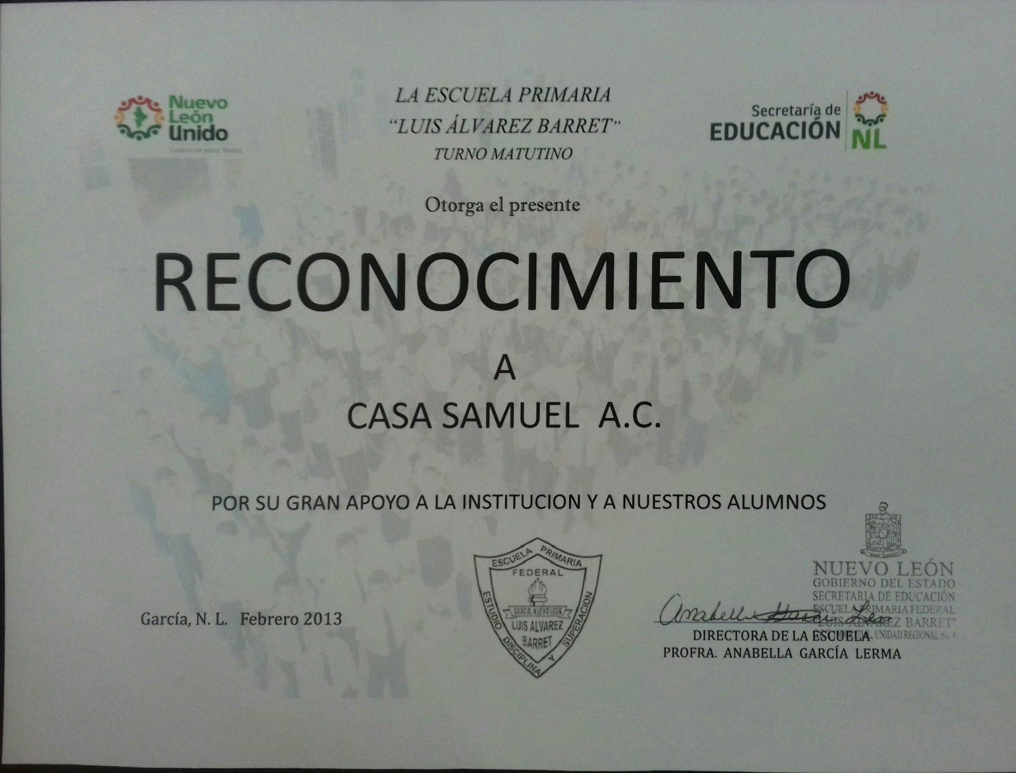 RECONOCIMIENTO ESCUELA LUIS ALBAREZ BARRET Y SECRETARIA DE EDUCACION PUBLICA 2013