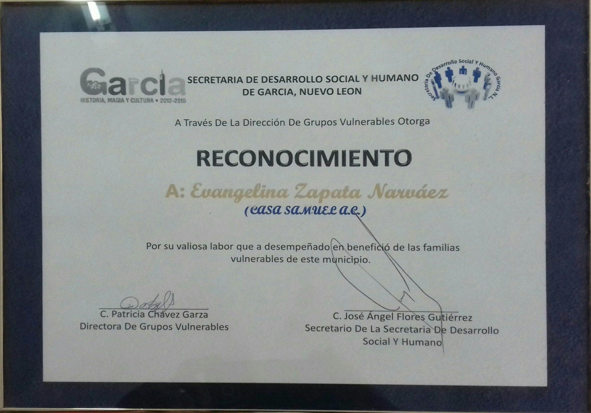 RECONOCIMIENTO SECRETARIA DE DESARROLLO SOCIAL DE GARCIA 2012