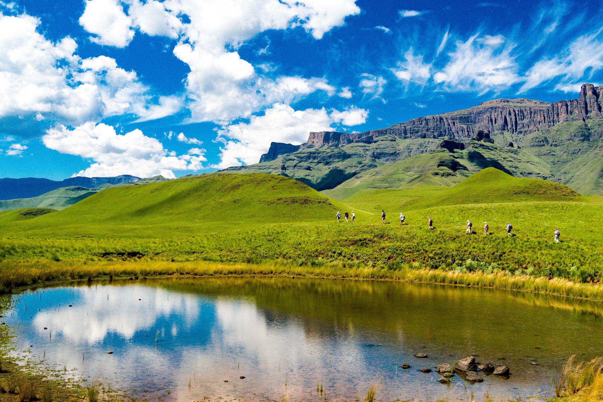 Südafrika - Wandergruppe in den Drakensbergen