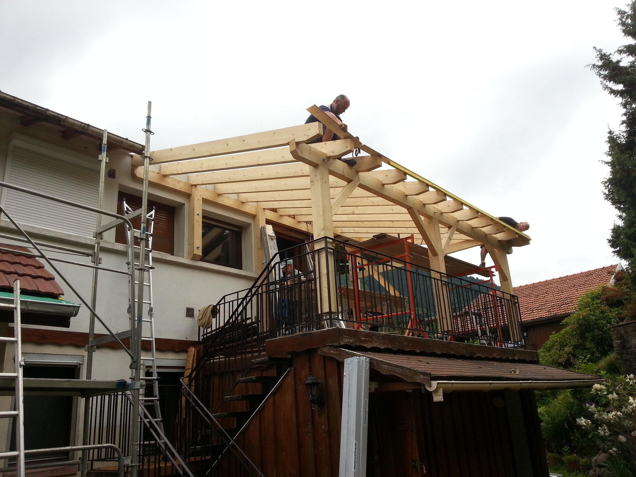 Construction d'une ossature bois pour extension