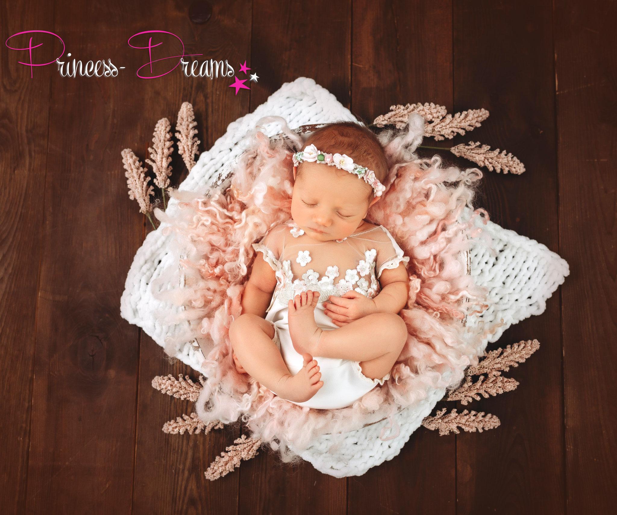 Baby Newborn Blütenkranz Babyfotografie Haarband Fotoshooting Baby Mädchen Haarschmuck Haarband Prop Blumenschmuck Blumen Blüten Kranz Taufe