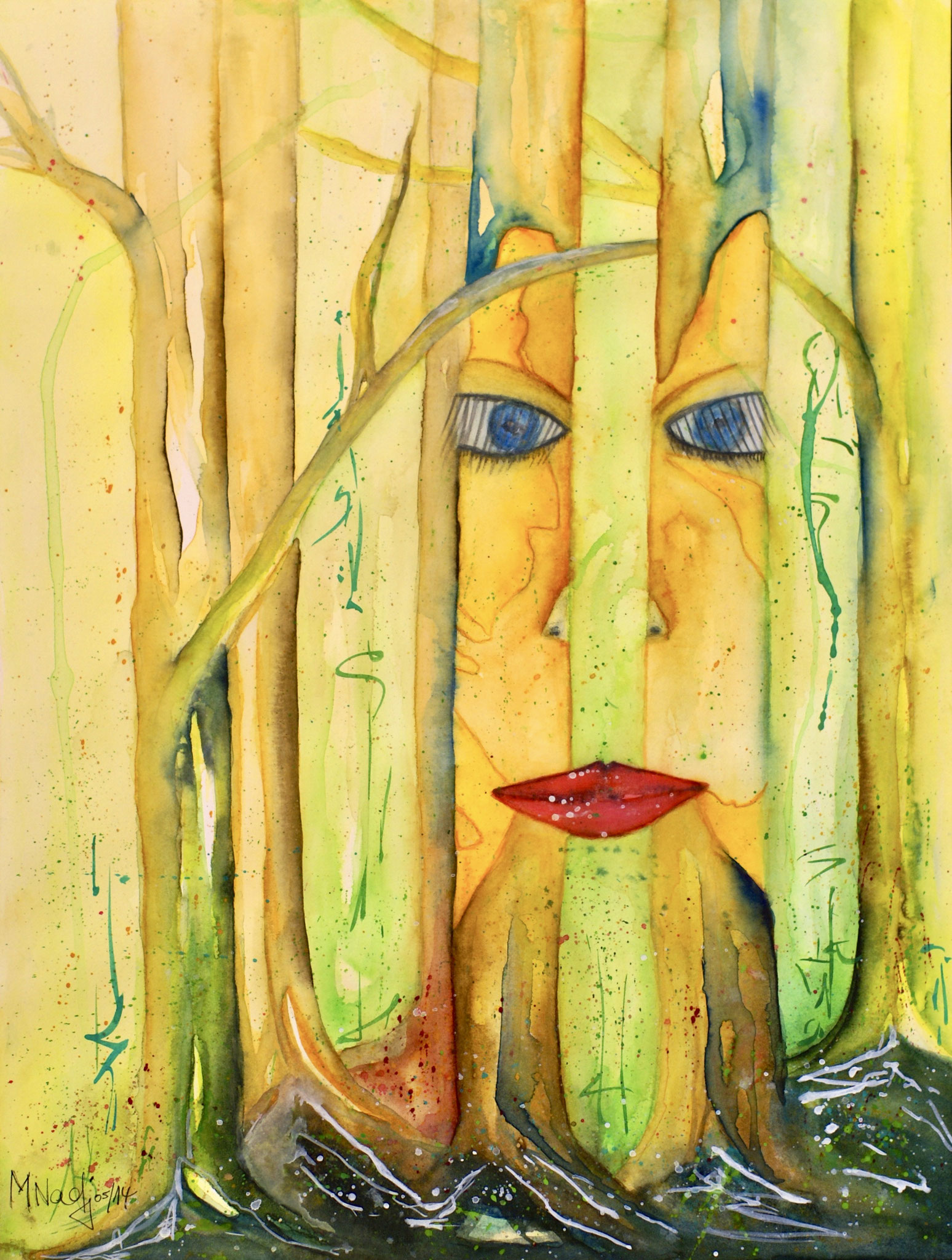 Waldgeist Aquarell 31X41cm Bild Nr.43 Preis auf Anfrage