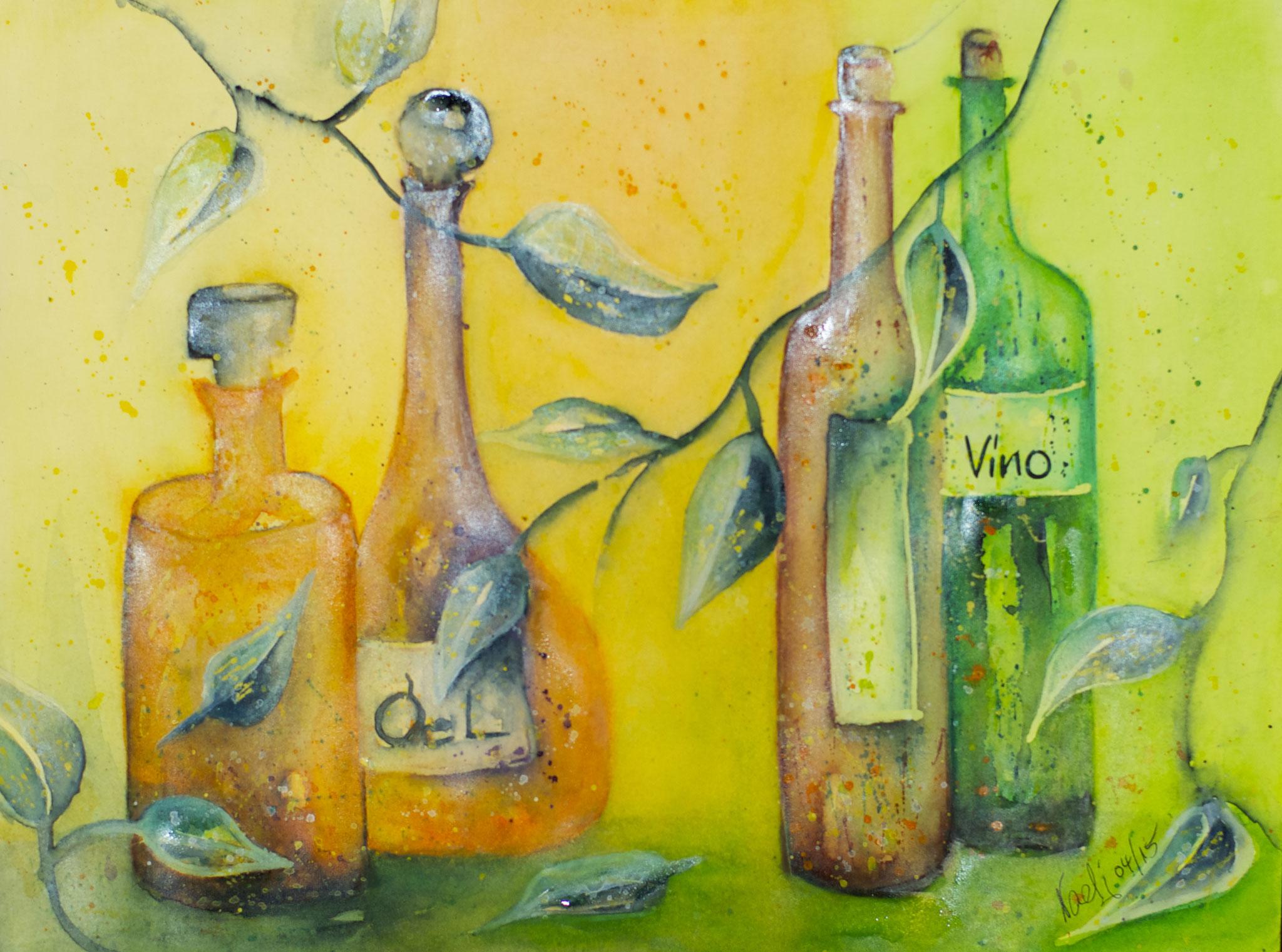 Flaschen Vino Aquarell 31X41cm Bild Nr.69 Preis auf Anfrage