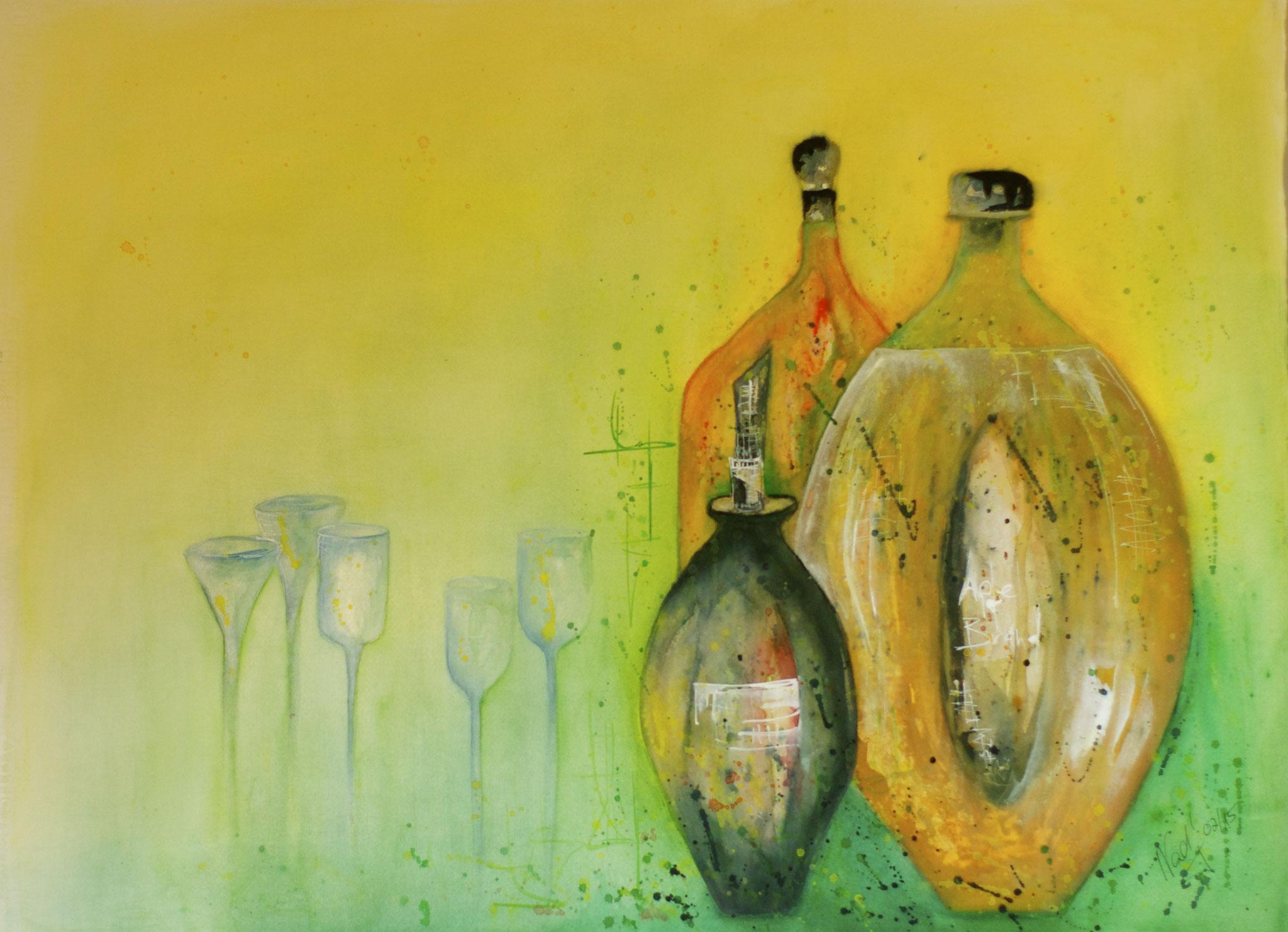 Flaschen Aquarell 57X75cm Bild Nr.66 Preis auf Anfrage