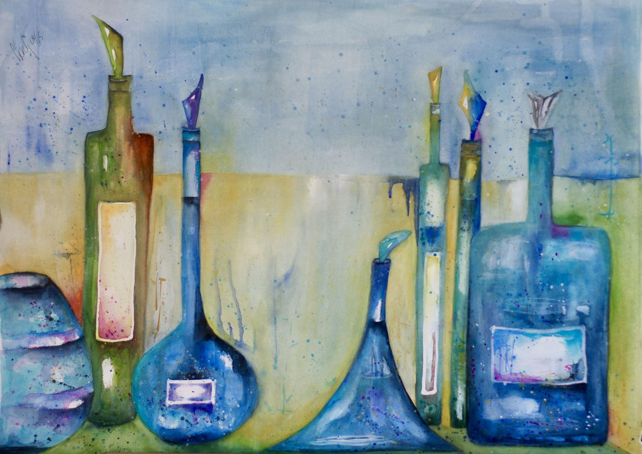 Flaschen 1 Aquarell 57X76cm Bild Nr.70 Preis auf Anfrage