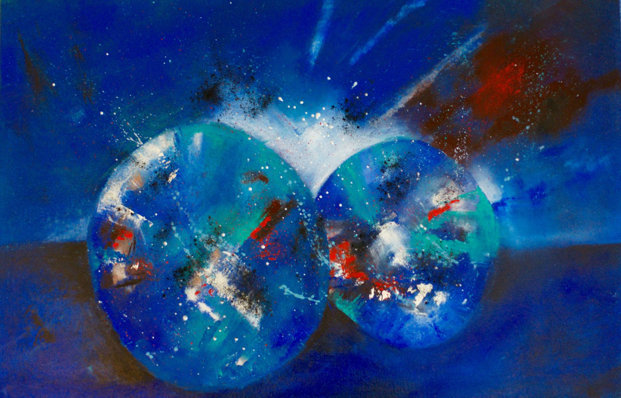 Blaue Kugel 40X60X2cm Öl auf Acryl Bild Nr.109 Preis auf Anfrage