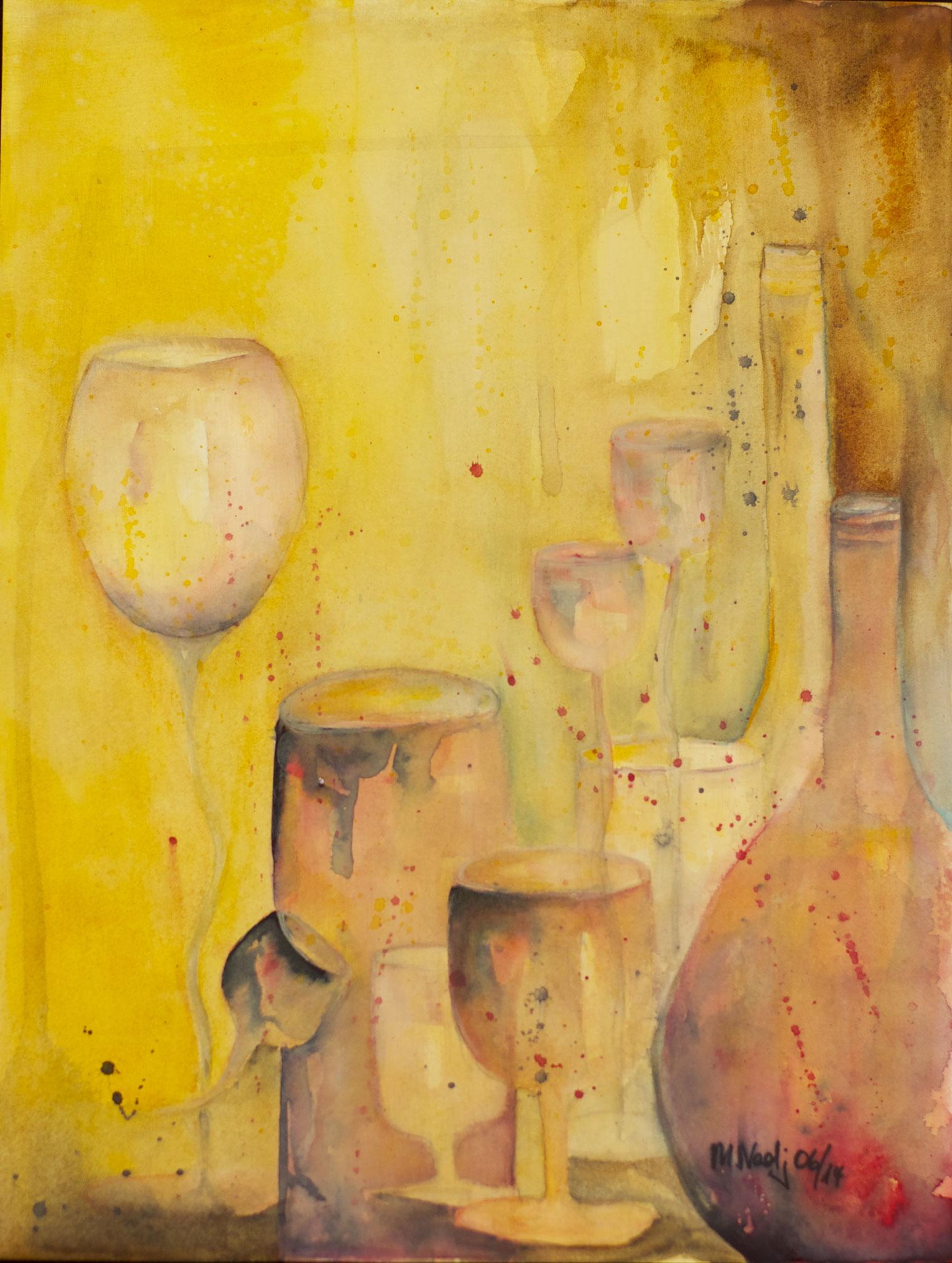 Red Bottles Aquarell 31X41cm Bild Nr.48 Preis auf Anfrage