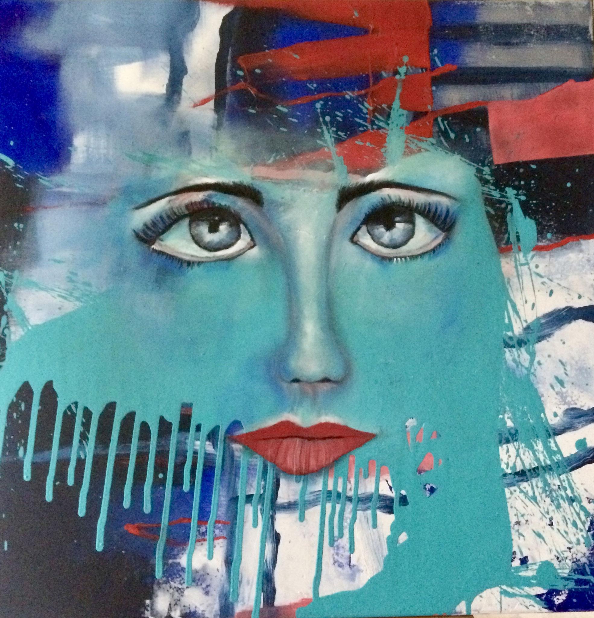 Madame 80X80X4cm Öl auf Acryl Bild Nr. 101 € 590