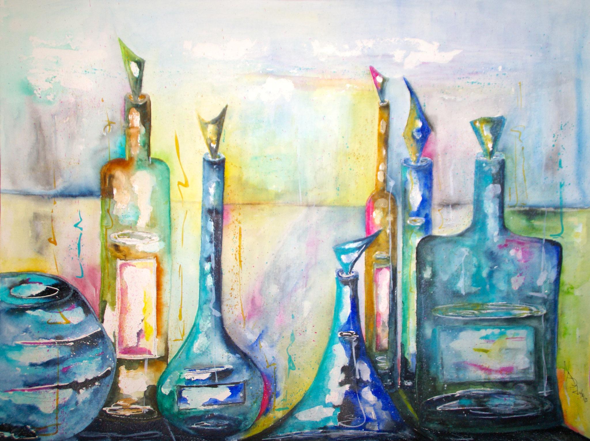 Blue Bottles Aquarell 50X65cm Bild Nr.41 Preis auf Anfrage