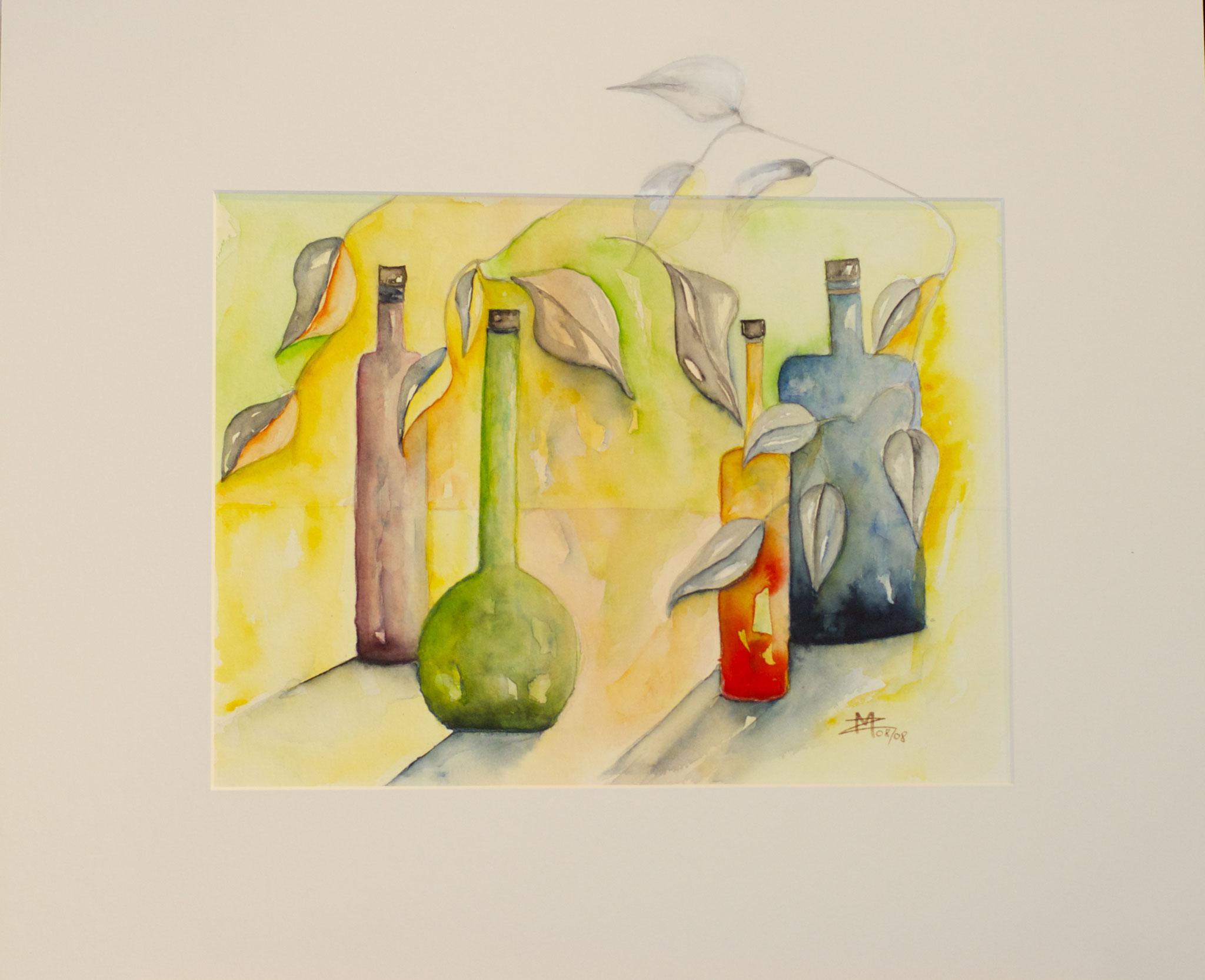 Flaschen bunt Aquarell 30X40cm Bild Nr.67 Preis auf Anfrage