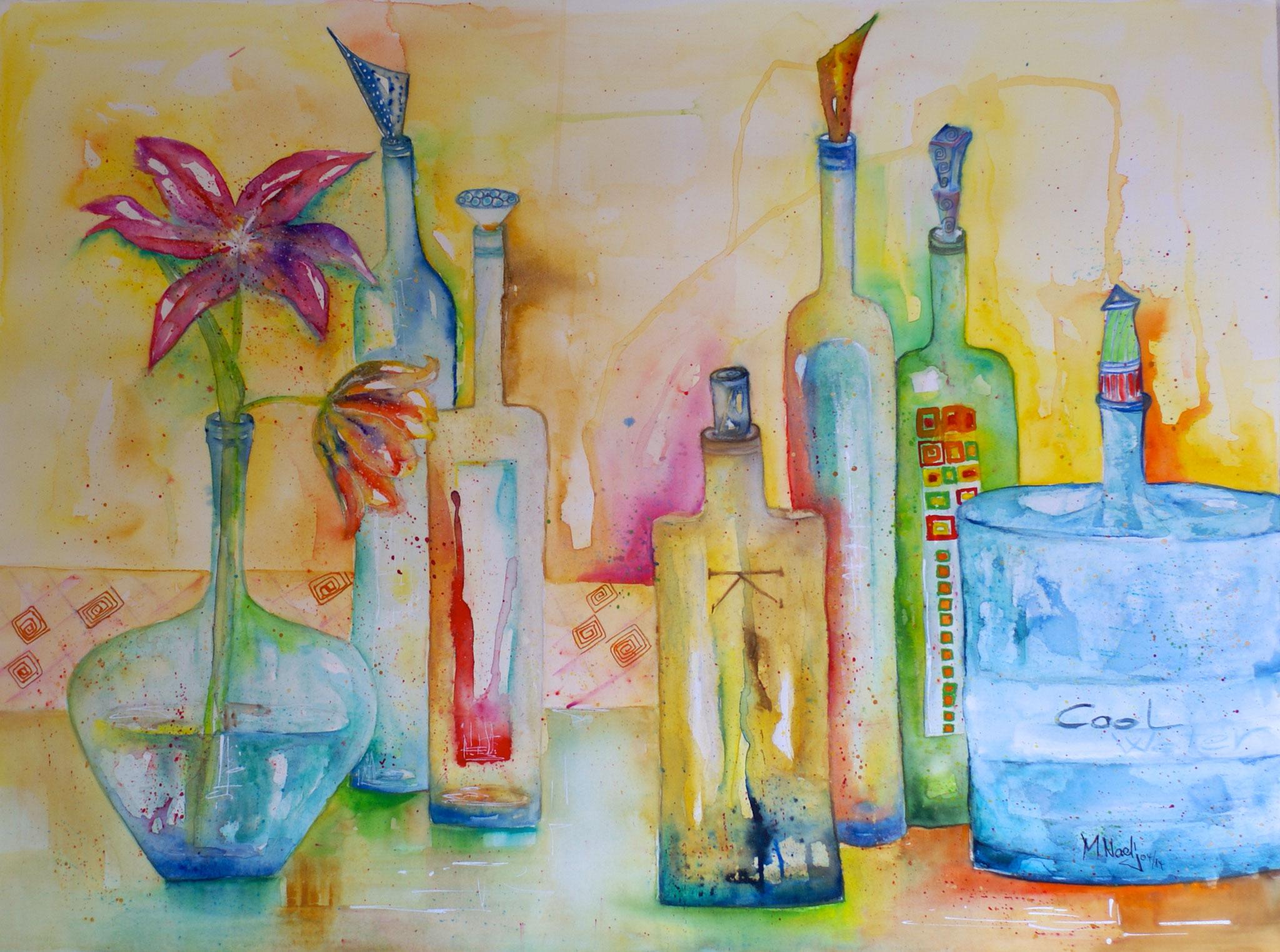 Coloured Bottles Aquarell 57X75cm Bild Nr.42 Preis auf Anfrage