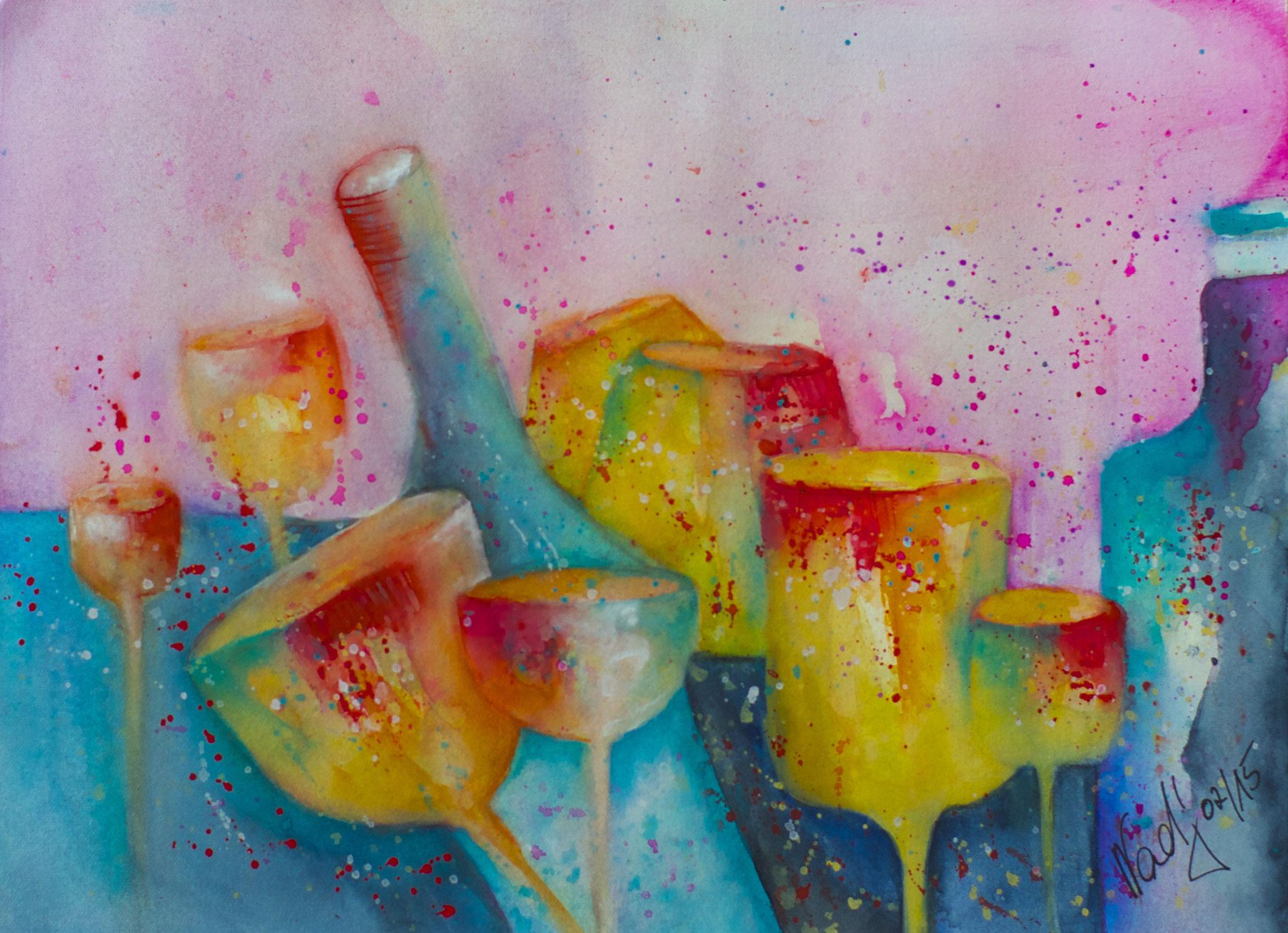 Farbenspiel Aquarell 23X30,5cm Bild Nr.65 Preis auf Anfrage