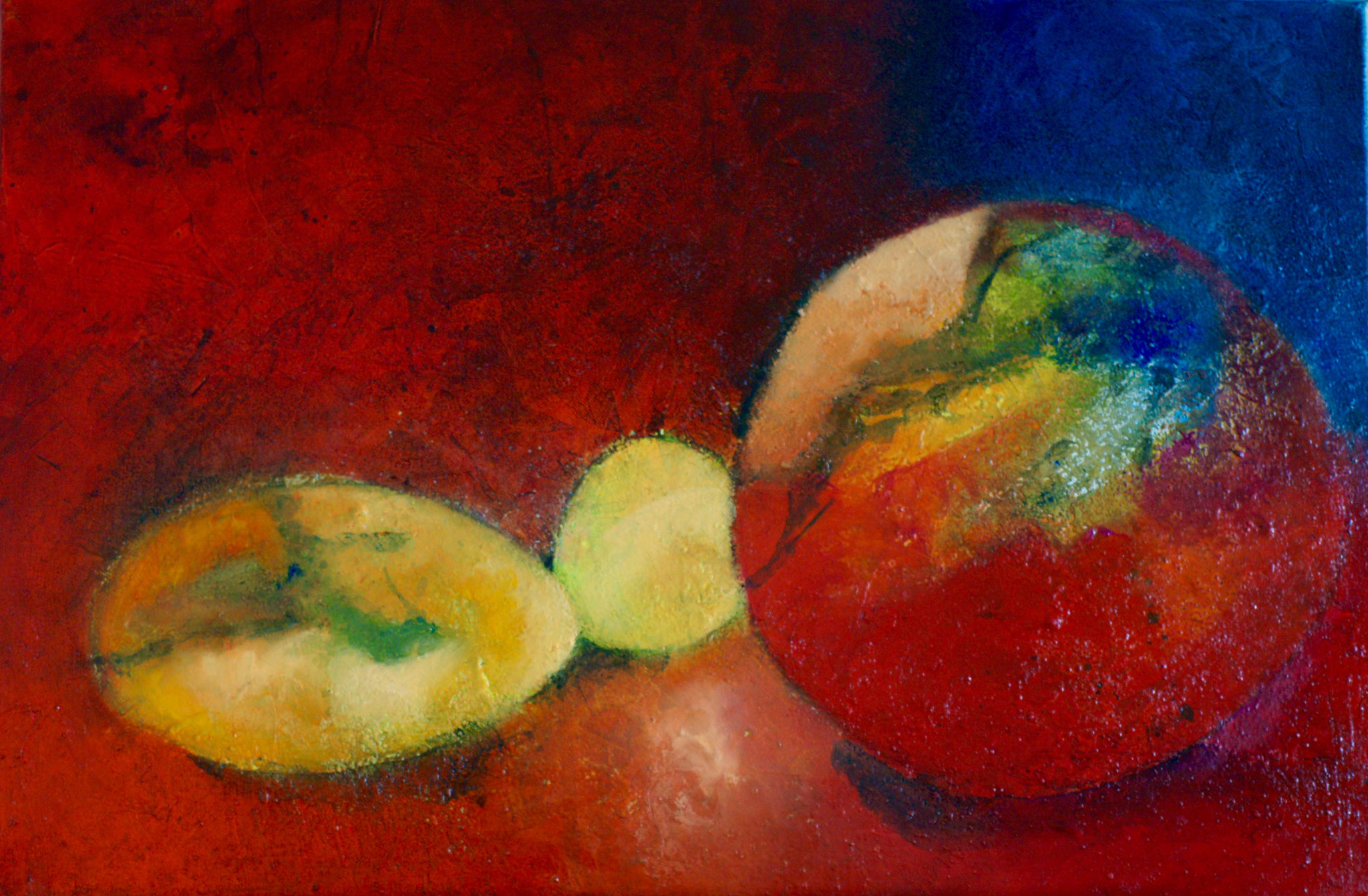Rote Kugel 40X60X2cm Öl auf Acryl Bild Nr.108 Preis auf Anfrage