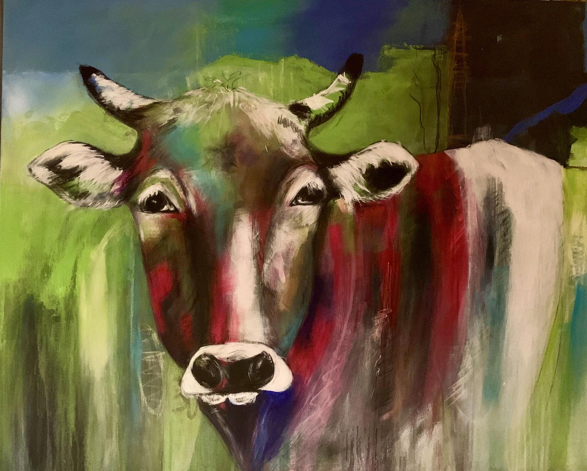 Kuh Bella 80X100X4cm Acryl Bild Nr.110 Preis auf Anfrage