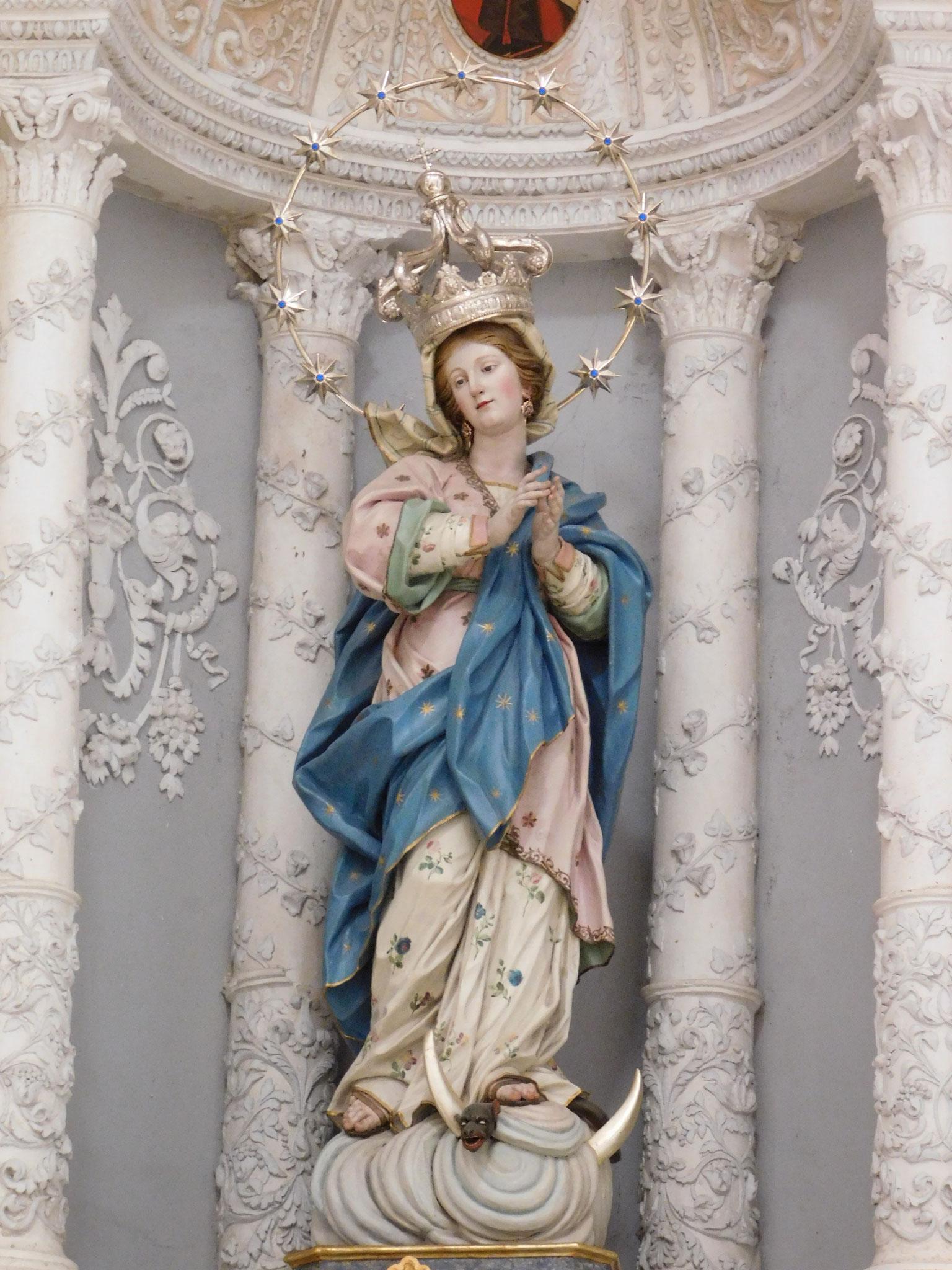 Immacolata Concezione, legno policromo, Gaspare Castelli, 1786.