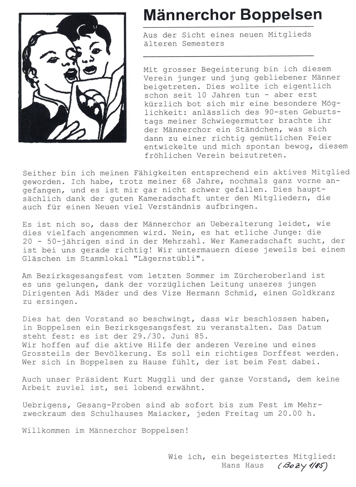 Hans Haus schreibt über den Männerchor::BOZY 1/1985