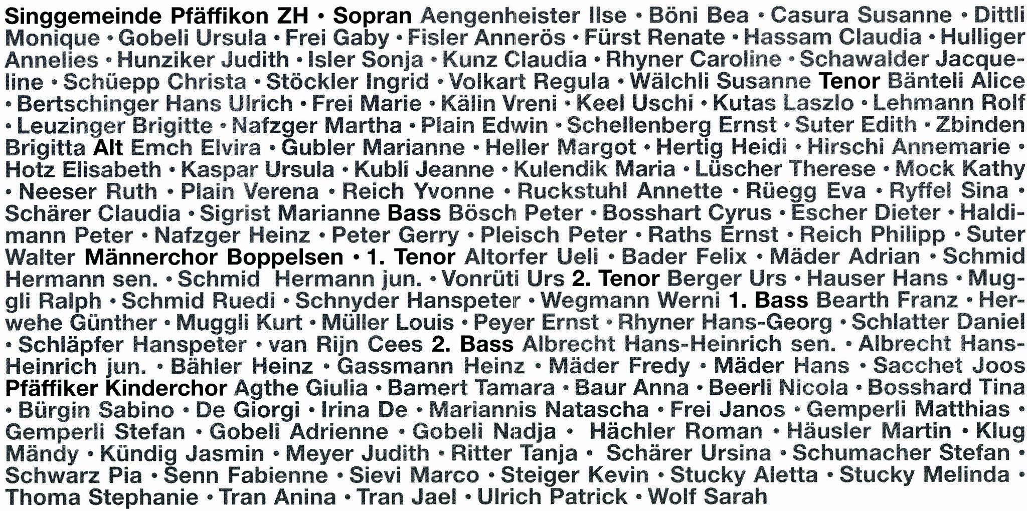 CD Booklet innen::Namen aller Beteiligten
