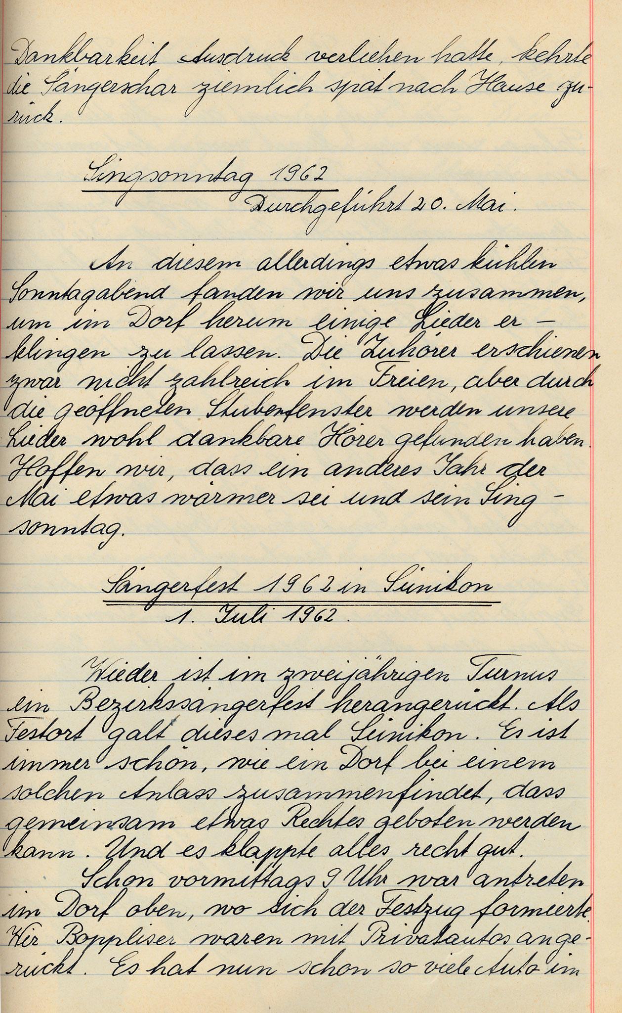 Protokolleintrag zum Sängertag Sünikon vom 1.Juli 1962