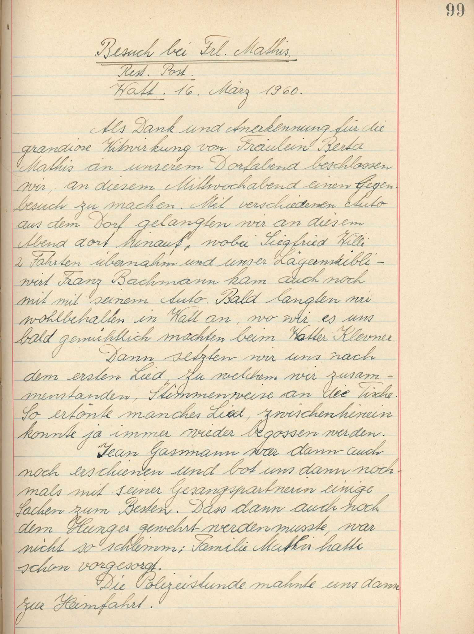 Gegenbesuch der Männerchörler bei Frl. Mathis Watt, Rest. ZurPost::16.3.196027.2.1960