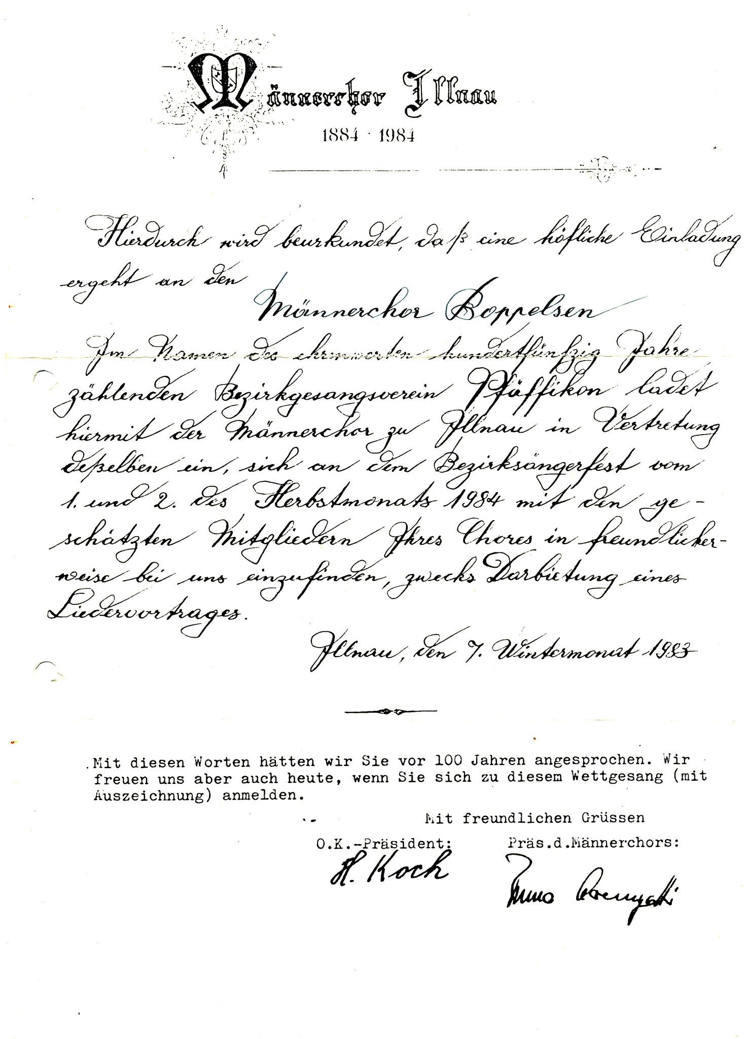 Einladung 100 Jahre Männerchor Illnau