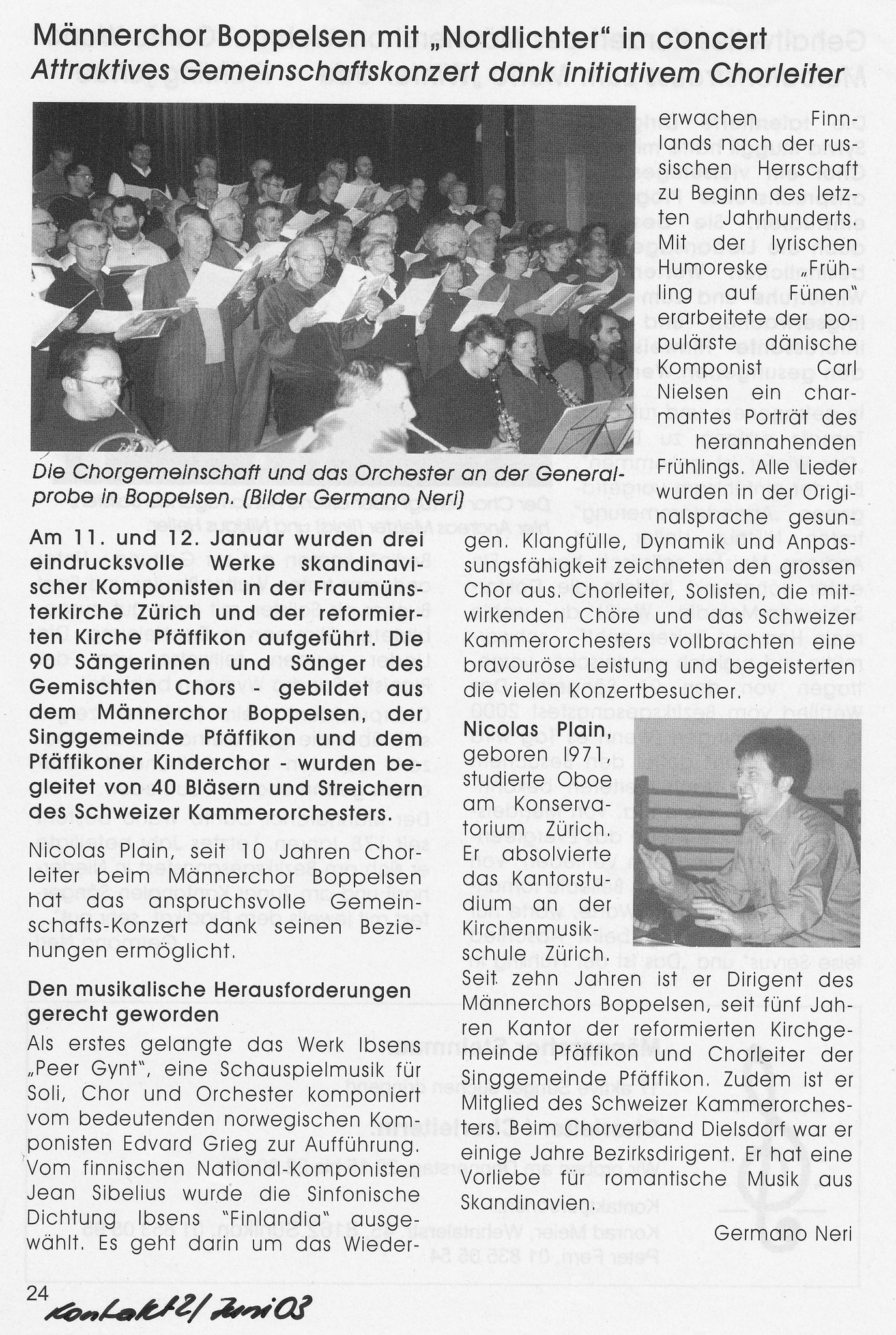Bericht im «Kontakt» Juni 2003