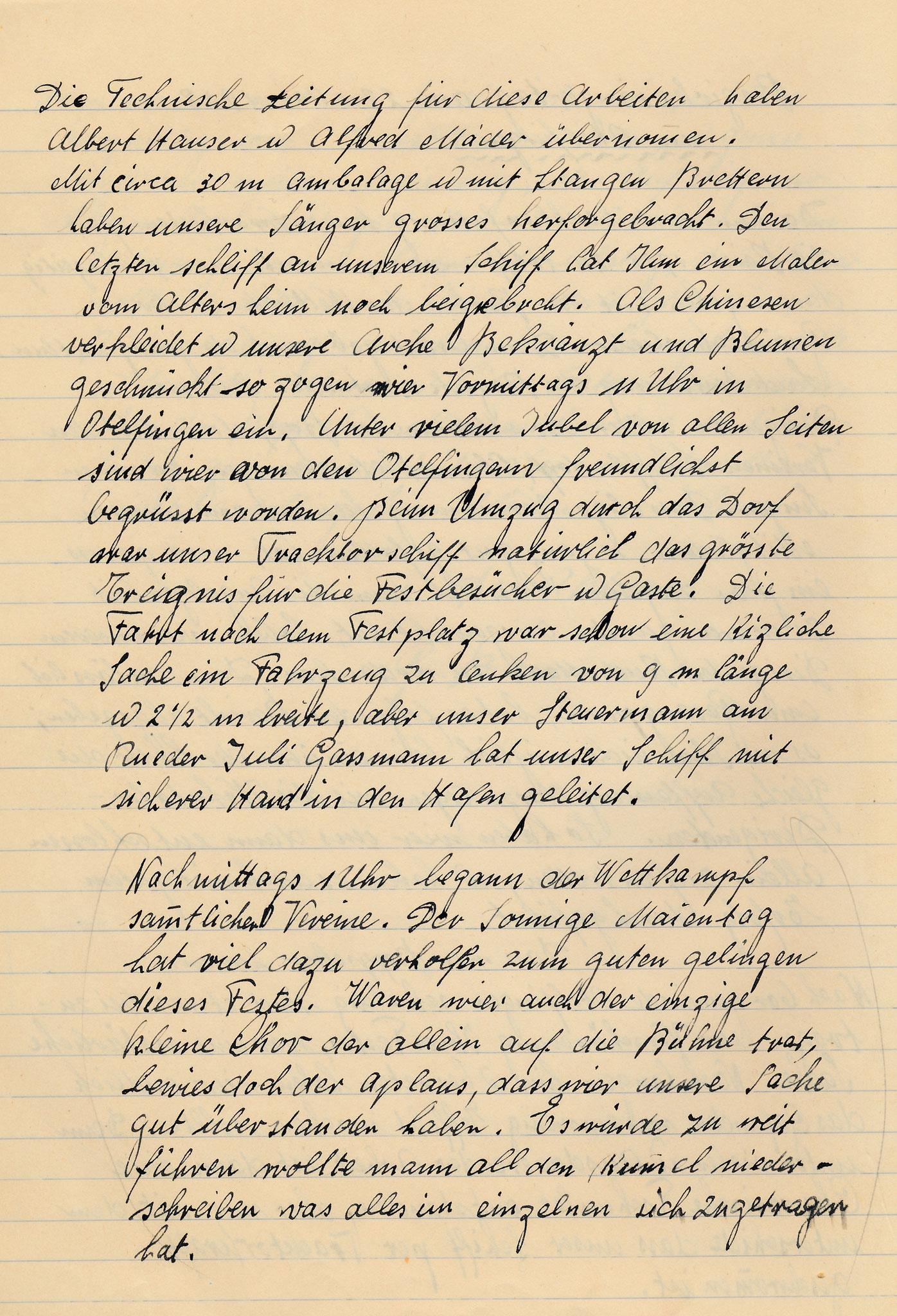 Protokoll zum Bezirkssängertag 22.5.1938