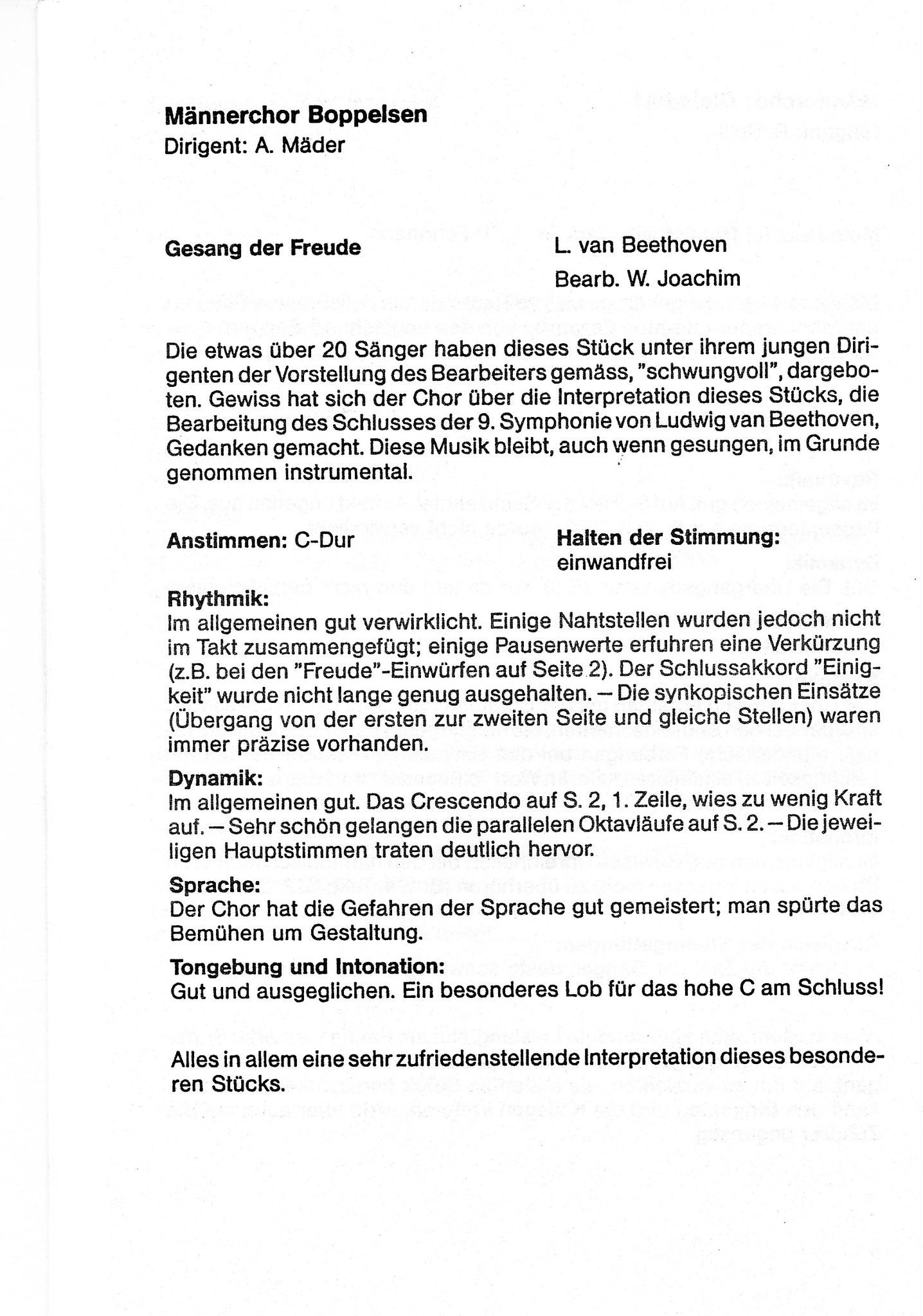 Expertenbericht::Sängertag 1983 Niederhasli::Dirigent Adi Mäder