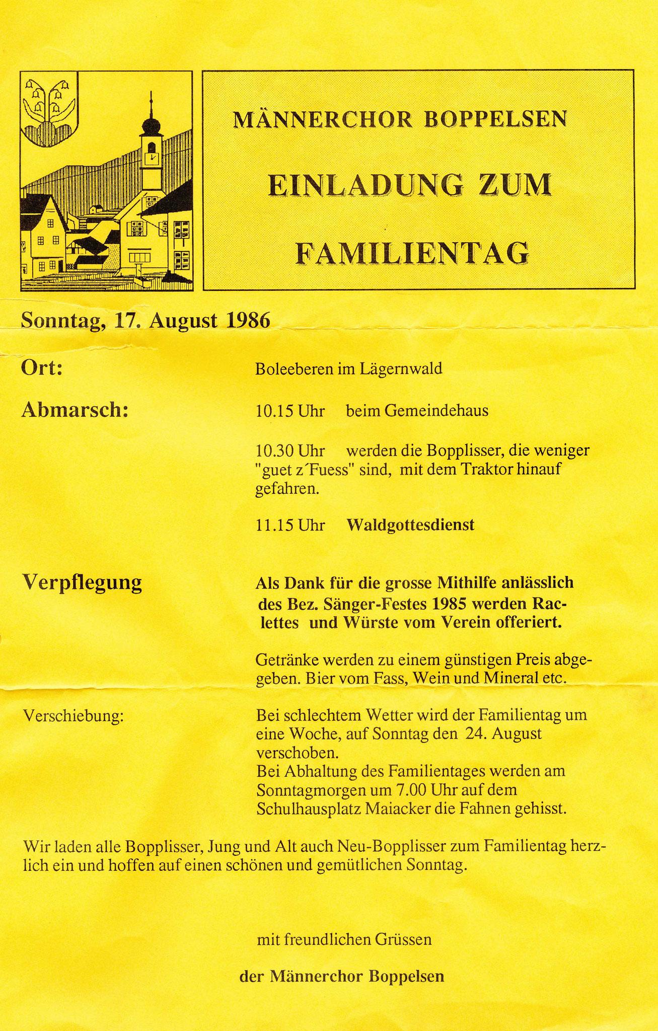 1986_Familientag auf Boleeberen als Dank für die Mithilfe am Bez. Sängerfest 1985