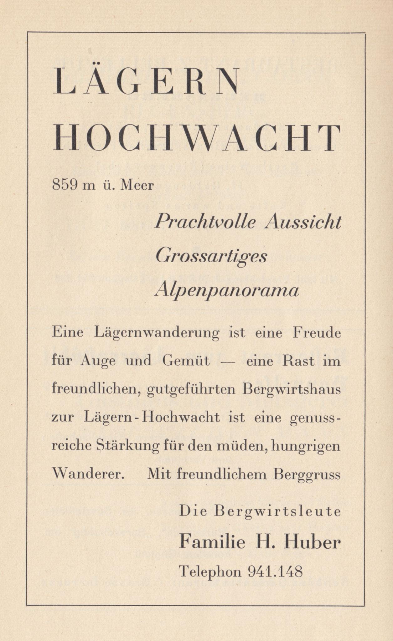 Inserat im «Führer durch den Bezirk Dielsdorf» Wehrliverlag, Kilchberg 1931