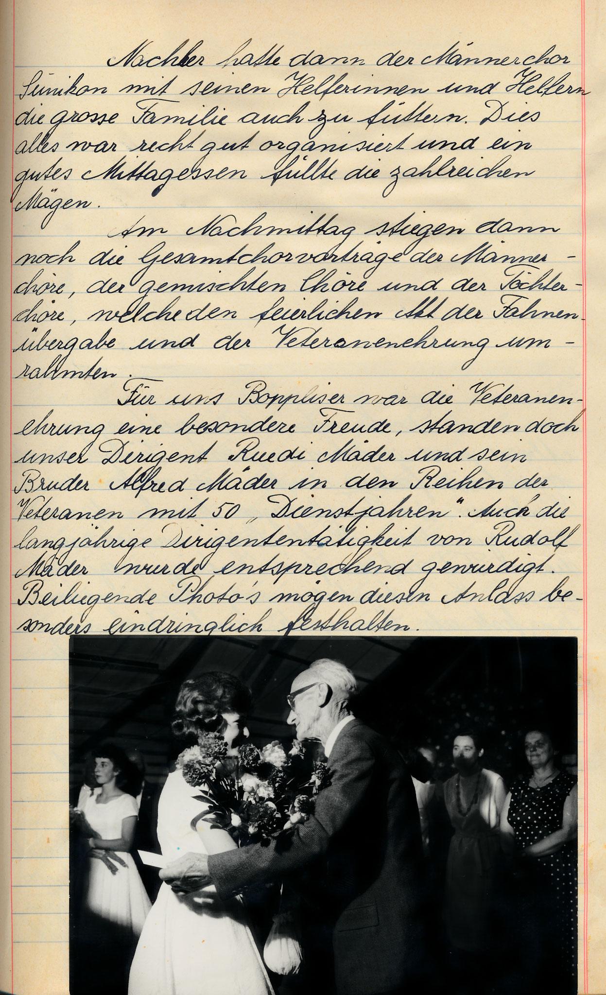 50 Jahre Mitglied im MCB!  Veteranenehrung von Dirigent Ruedi Mäder und von seinem Bruder Alfred Mäder::1962