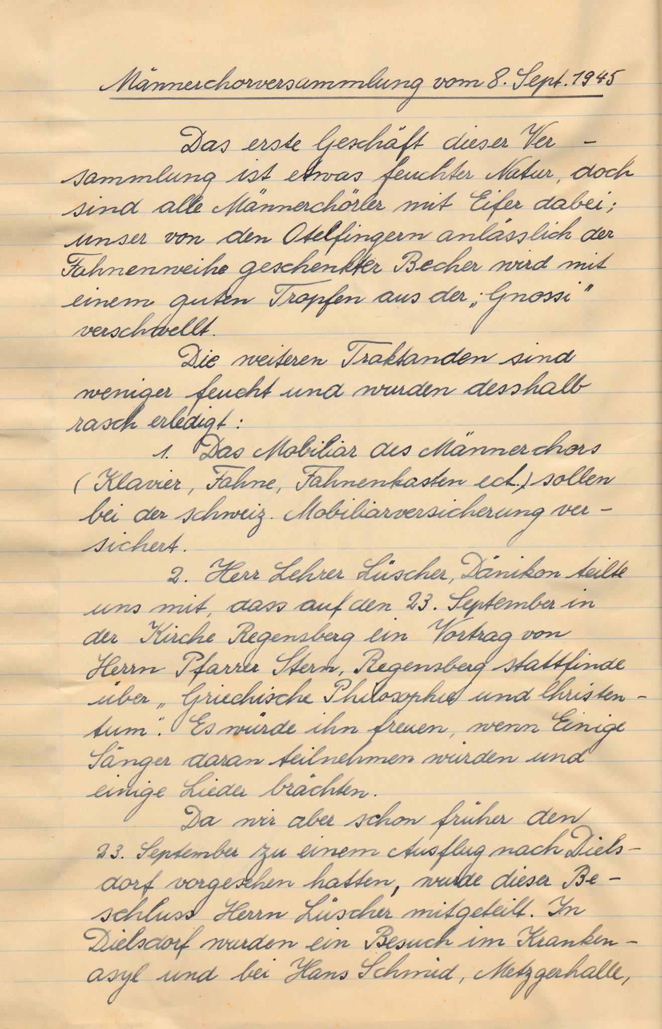 Nachträge zum Fest::Protokoll 8. Sept. 1945
