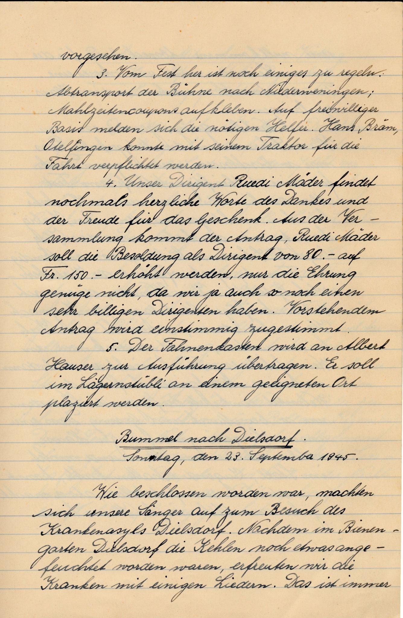 Bummel nach Dielsdorf::Singen im Spital::So 23. Sept. 1945