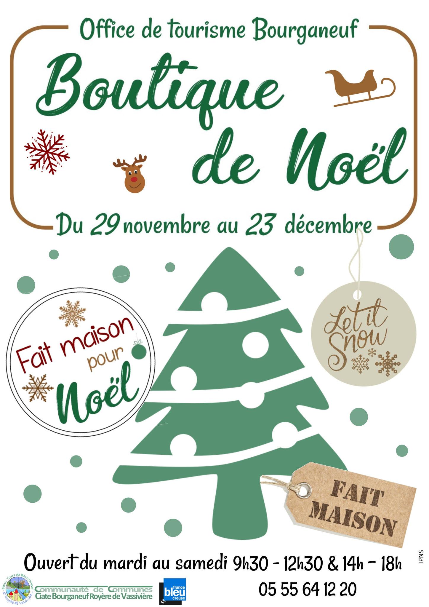 Retrouvez nos produits à la boutique de noël à l'Office de Tourisme de Bourganeuf