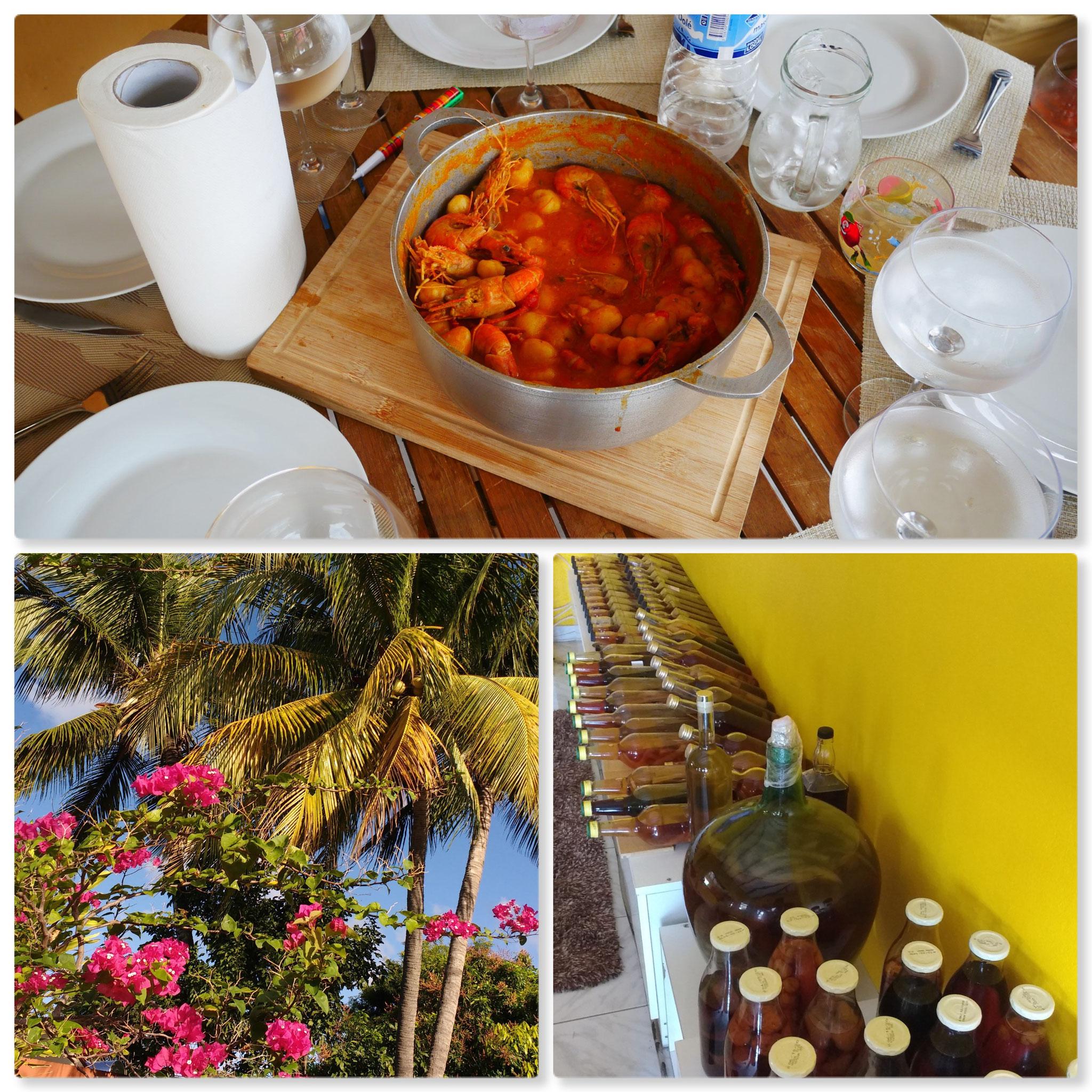 Chez le voisin : déjeuner de ouassous et collection de rhums arrangés