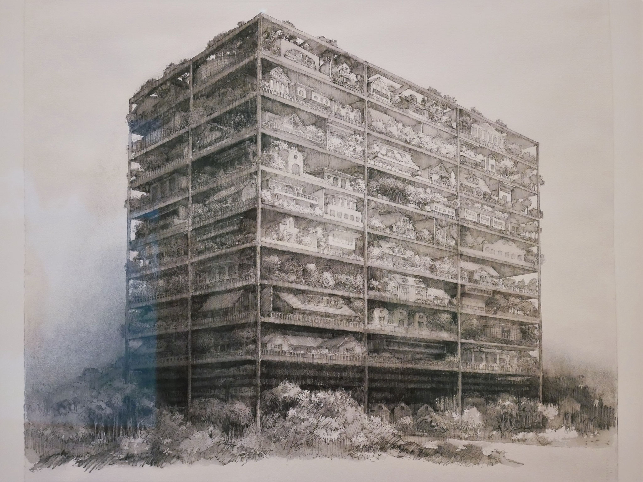 SITE, James Wines Highrise of Homes, project (Exterior perspective) 1981
