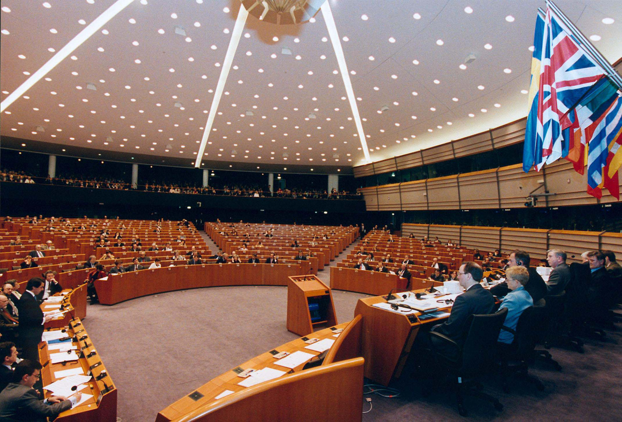 "Plenarsaal - ""Photo: Europäisches Parlament; Architecte: Association des architectes du CIC: Vanden Bossche sprl, C.R.V. s.a., CDG sprl, Studiegroep D. Bontinck"