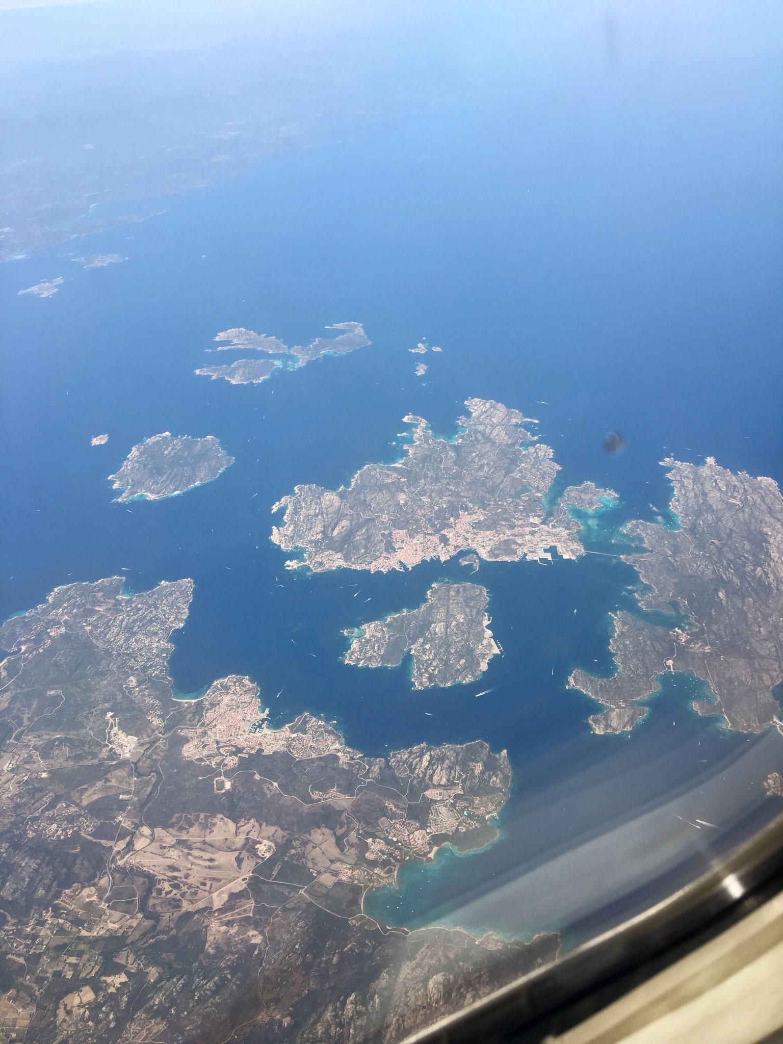 LA Maddalena islands from the air